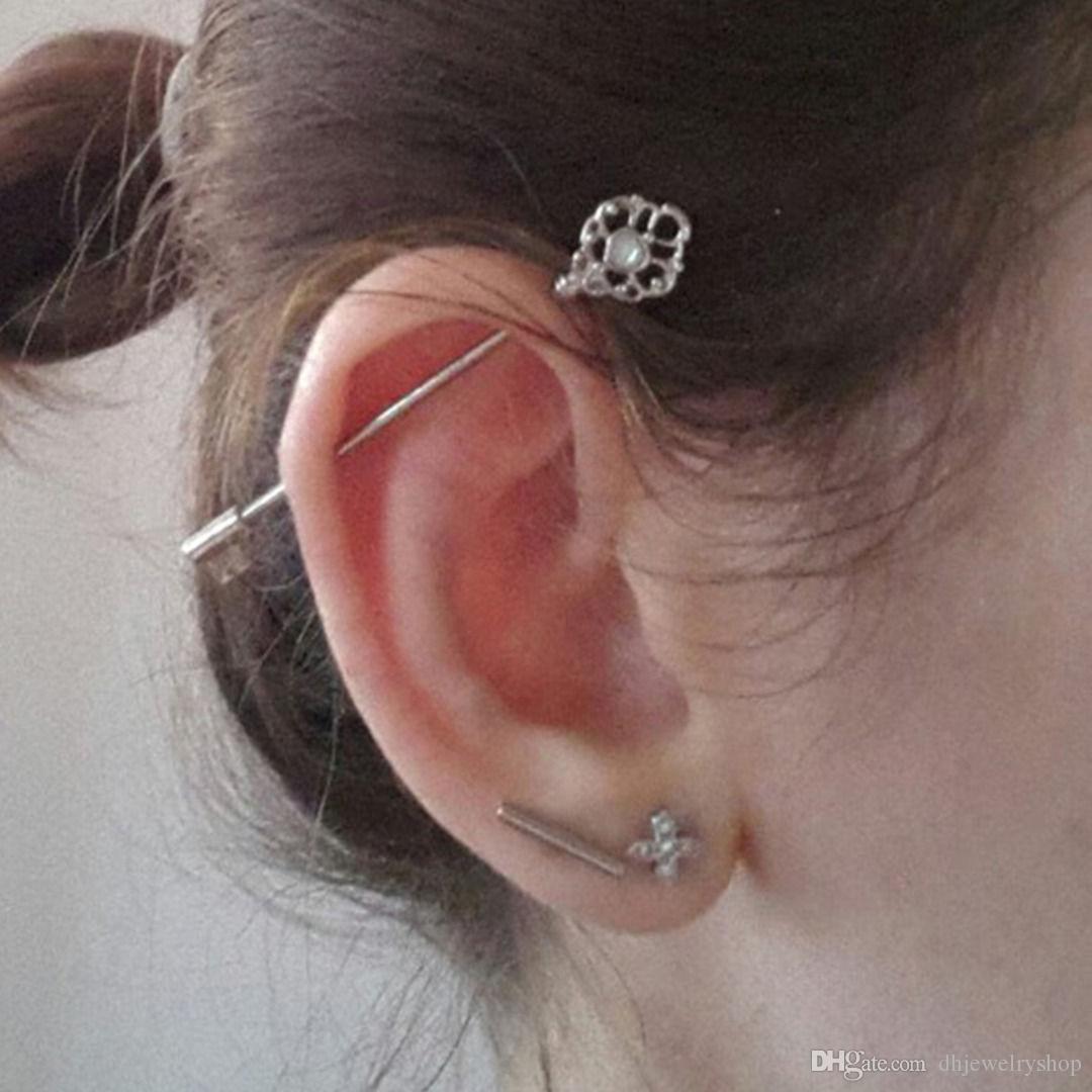 Мода прокол ювелирные изделия хирургическая сталь промышленные уха штангой хряща пирсинг ювелирные изделия промышленные штангой 14 г 38 мм кольцо пирсинг
