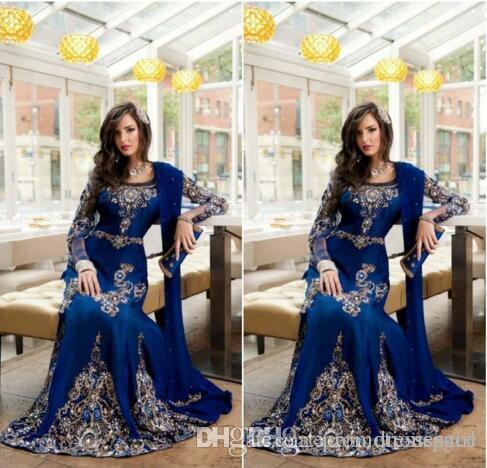 2017 Royal Blue Luxury Kristall Muslimischen Arabischen Abendkleider Mit Applique Spitze Abaya Dubai Kaftan Lange Plus Size Formale Abendkleider