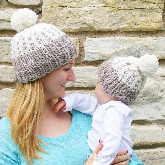 Mom Baby Crochet Knit Beanie Hats Women Wool Caps Infant Toddler ... 4271ed182