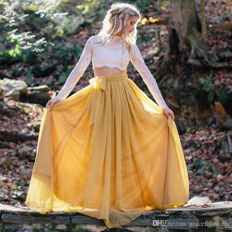 Due pezzi in pizzo a maniche lunghe abiti da promenade O-Collo A-Line gonna in chiffon giallo Abiti da cerimonia vintage ragazze vestido longo de festa