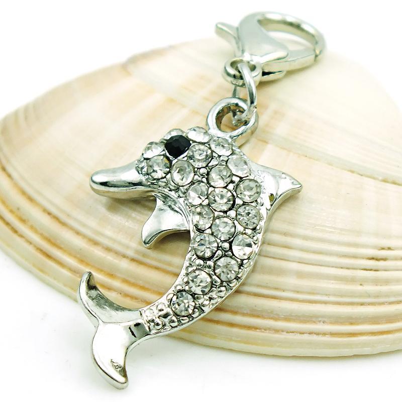 Ny ankomst mode charms dangle rhinestone dolphin djur charm med hummer lås DIY smycken gör tillbehör