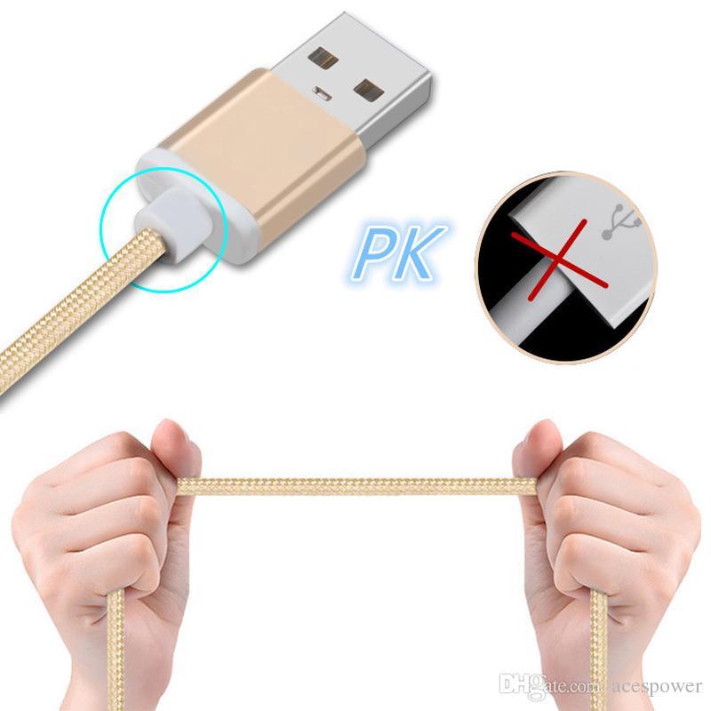1.5m Tipo C 3FT Trançado USB Carregador Cabo Micro V8 Cabos Linha de Dados Metal Plug Cobrando para Samsung Nota 20 S9 Plus