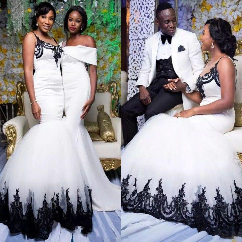 African Mermaid Wedding Dresses Long Sheer Neckline Black Lace ...