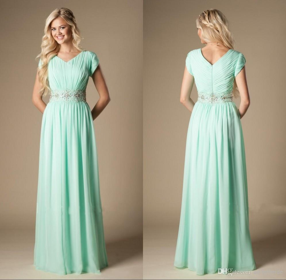 Modest mint green chiffon bridesmaid dresses v neck short sleeves modest mint green chiffon bridesmaid dresses v neck short sleeves a line floor length beaded waist country wedding guest dress sangria bridesmaid dresses ombrellifo Choice Image