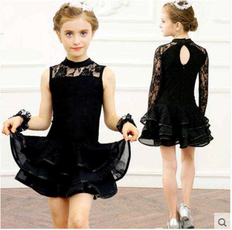 677b609fad2dd Free Shipping Black Children's Kids Latin Dance Dress Girls High Quality  Lace Tango Salsa cha cha Samba ballroom competition Dance Dress