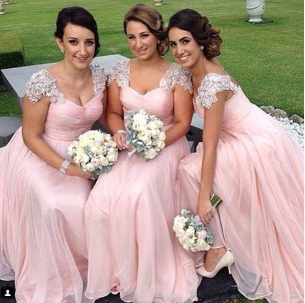 2017 Nova Elegante Longo Da Dama de Honra Vestidos Querida Neck Frisada Cap Manga Ruched Formal Vestido de Festa Para O Casamento Chiffon Bonita Prom Vestidos