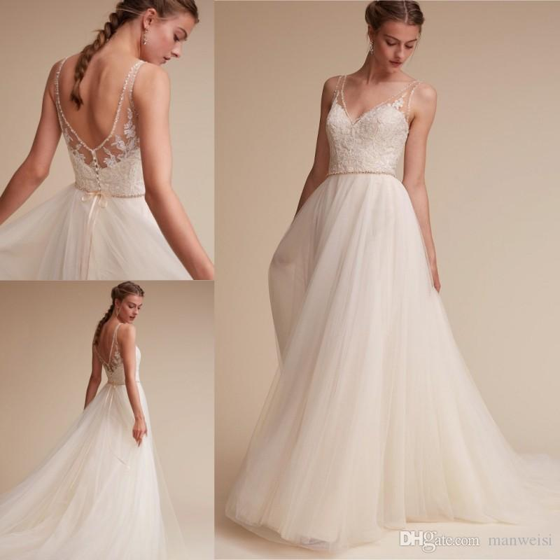 Discount 2017 Bhldn Beach Wedding Dresses Backless Beads