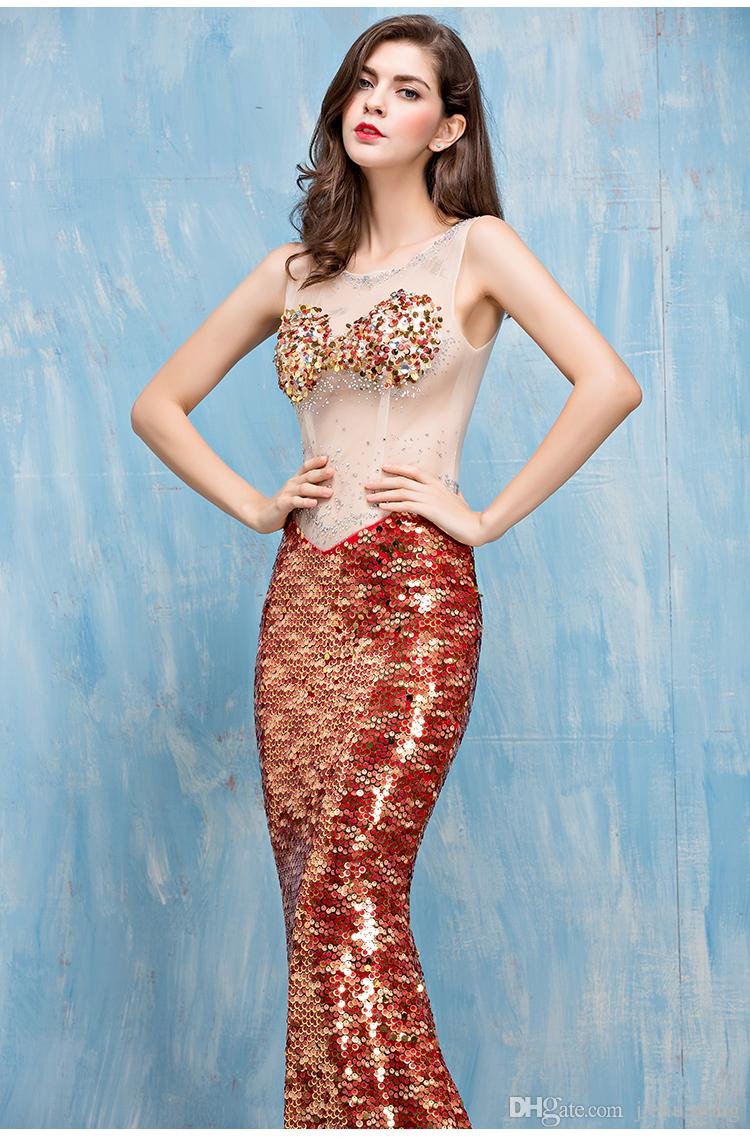 Party Dresses Long Sleeveless Tail Show Thin Translucent Sexy ...