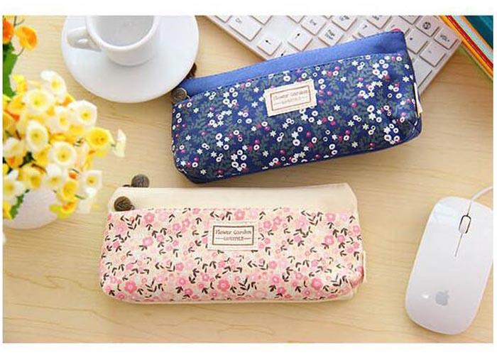 Lovely Double Zipper flower Pencil case Portable Student Stationery Storage Pencil Bag for school office material supplies