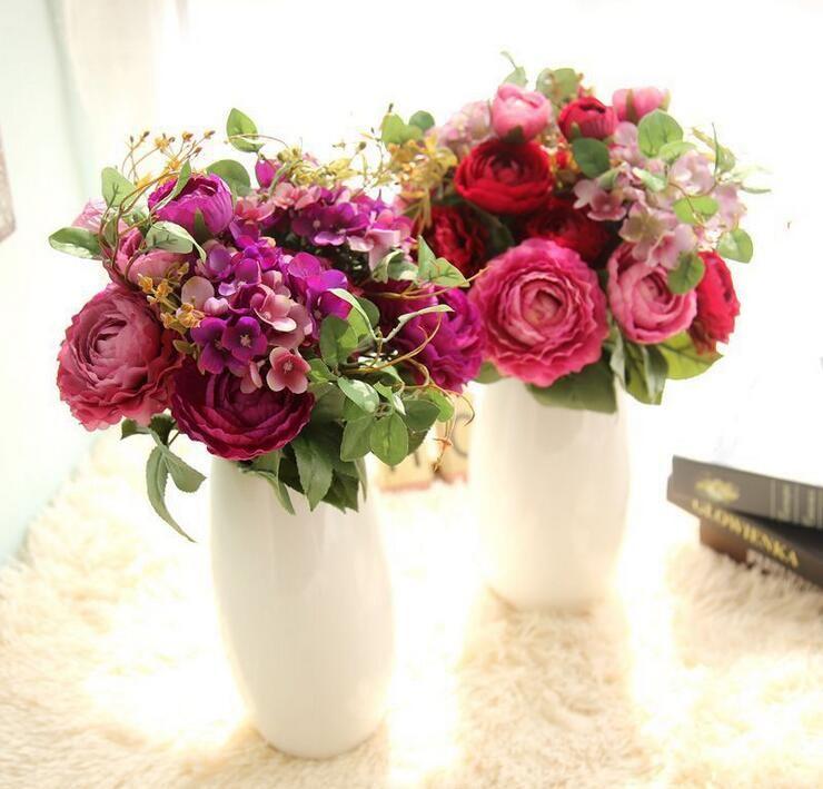 Ranunculus hydrangea bridal bouquets artificial pink