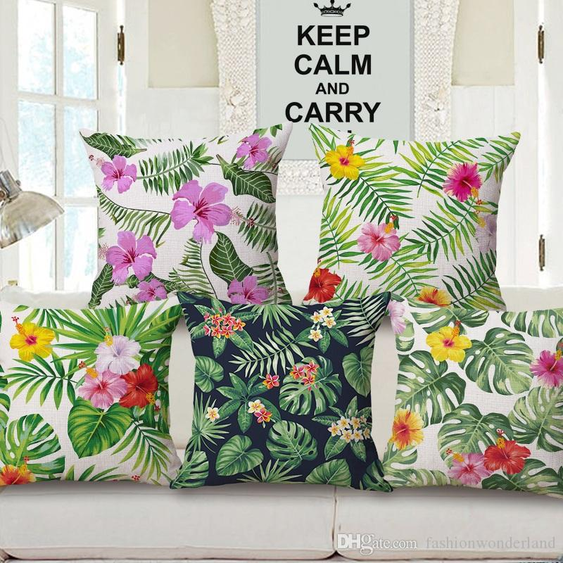 Flower Cushion Cover Palm Tree Leaf Purple Yellow Floral Thick Linen Cotton  Pillow Cover 6 Styles 45x45cm Bedroom Sofa Decoration Discount Patio  Cushions ...