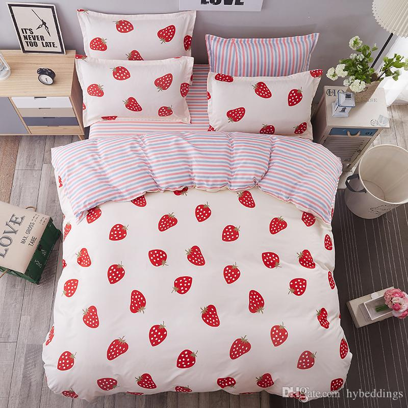 White Red Strawberry Bedding Sets Single Double Queen King Size