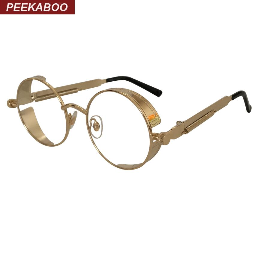 Wholesale- Peekaboo New Round Metal Frame Glasses Gold Clear Shield ...