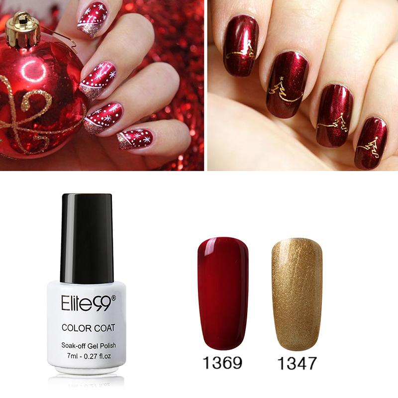 Wholesale Elite99 Bling Nail Uv Polish Gel Varnish Gorgeous Soak Off Red Gold Lacquer For Chirstmas Bell Art Design Acrylic Nails From