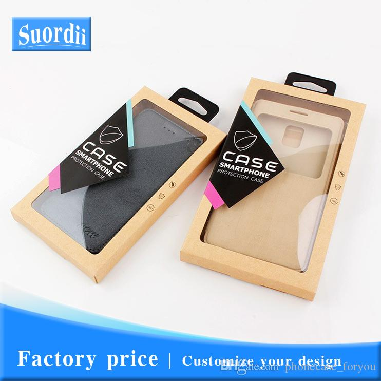 Universal Customize Logo Phone Case Cover Kraft Paper Packaging For iPhone 8 Window Display retail packaging With Stickers Inner Trays