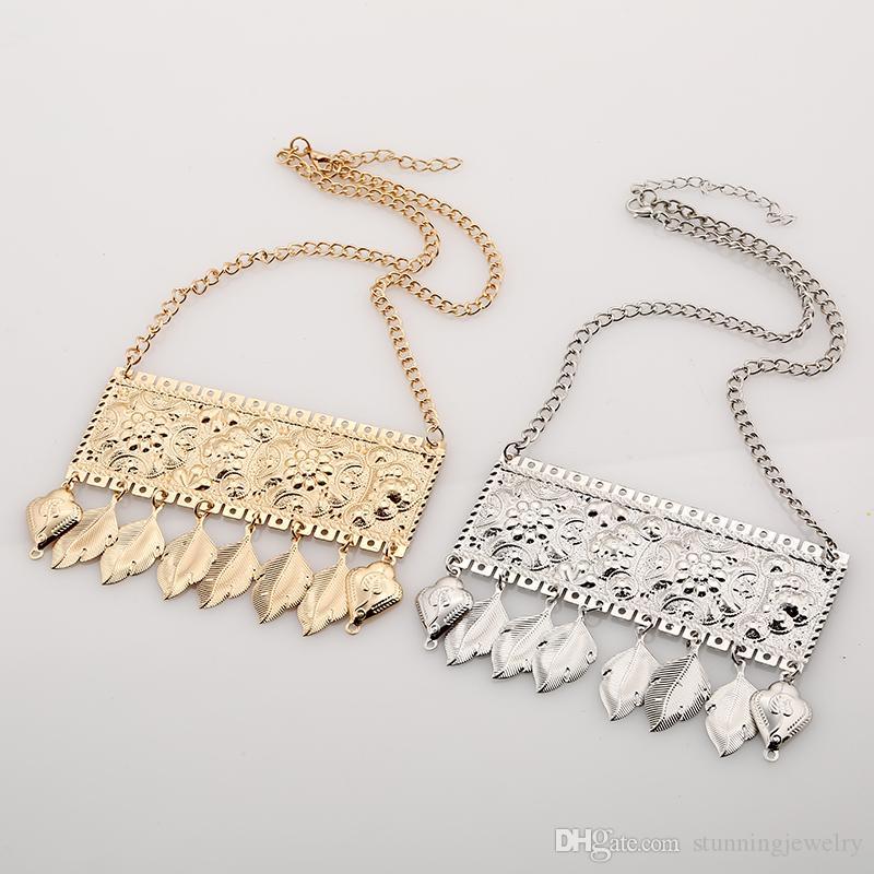2017 Mode Bohème Gypsy Colar Vintage Collier Maxi Déclaration Colliers Pendentifs Perles Feuille Gland Collier Ras Du Cou Collares