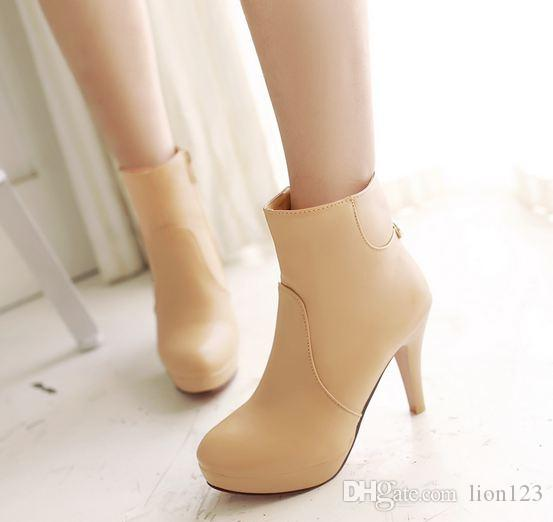 a1d92639d60f17 Fashion Winter Vintage Women Pumps Ankle Boots Black Nude High Heels ...