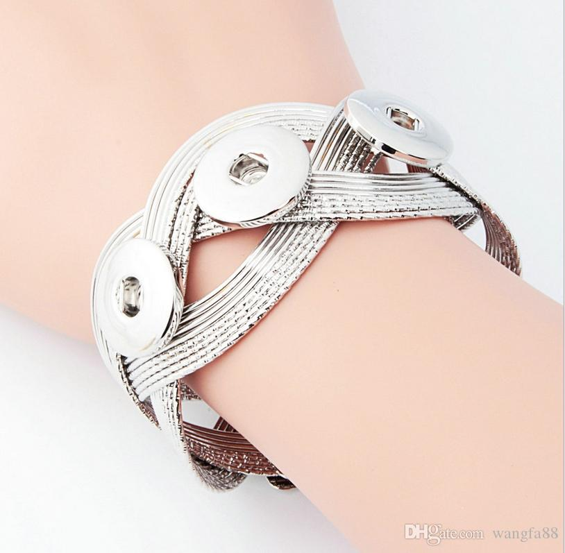 18mm noosa Snap Bracelet&Bangles Newest Design Antique Silver Plated Vintage Chain noosa chunks Bracelet 10 Styles Fit Snaps Jewelry