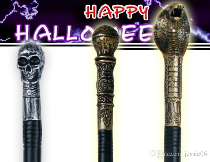 2018 evil witch halloween fancy dress handheld cane staff snake skeleton skull king magic wands canes easter costume party stage props from jessie06