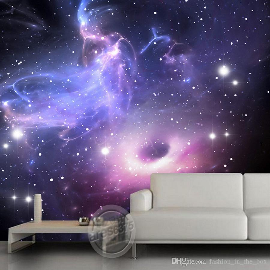 Purple Galaxy Wallpaper Custom 3d Wallpaper The Starry Sky Wall Mural Children Bedroom Living Room Hotel Space Interior Decoration Mural