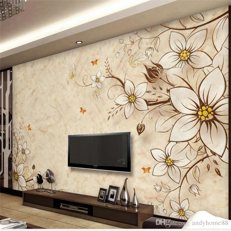 Modern Simple 3d Stereo Tv Background Wall Paper Custom Living Room