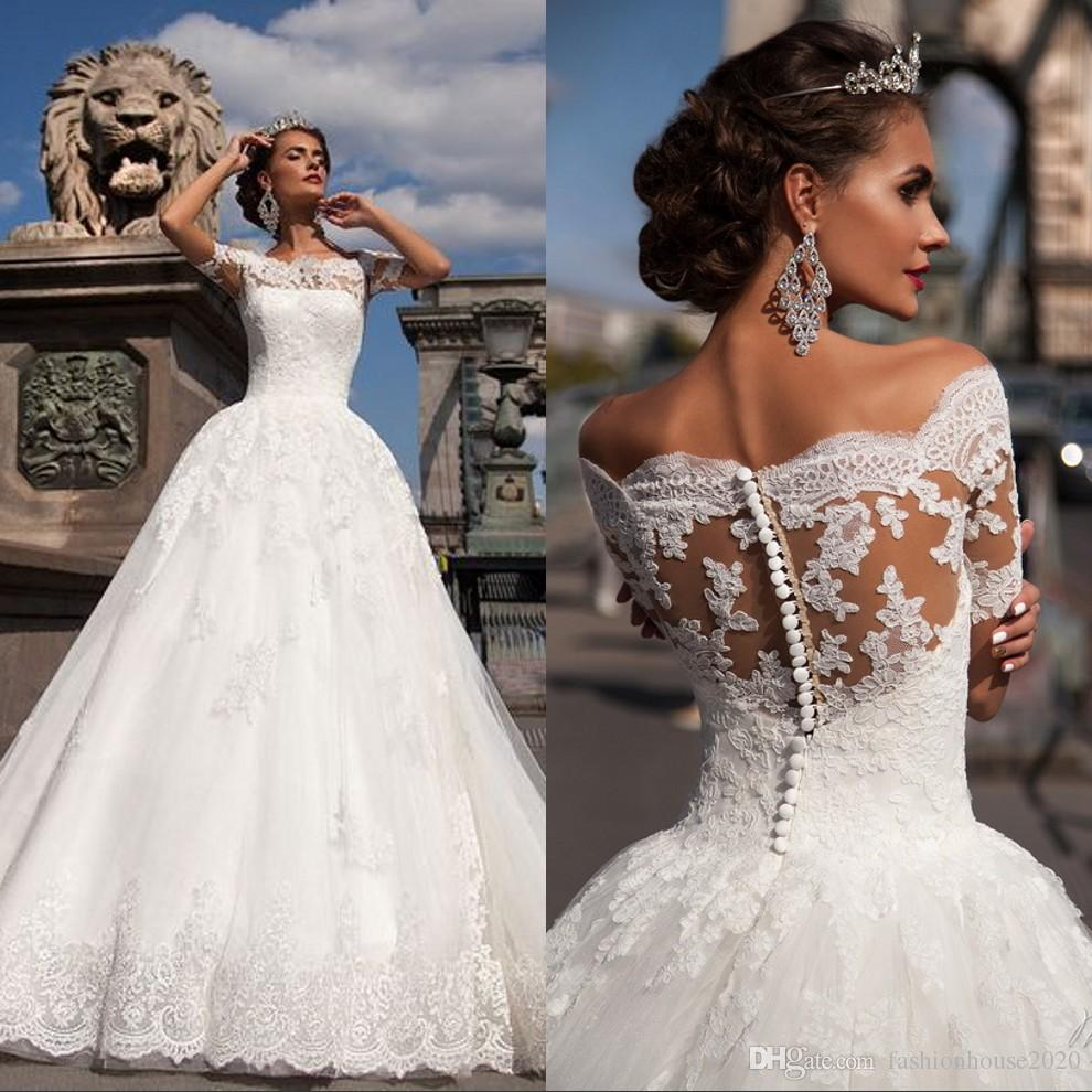Discount Vintage Lace Wedding Dresses 2018 Off The Shoulder Applique ...