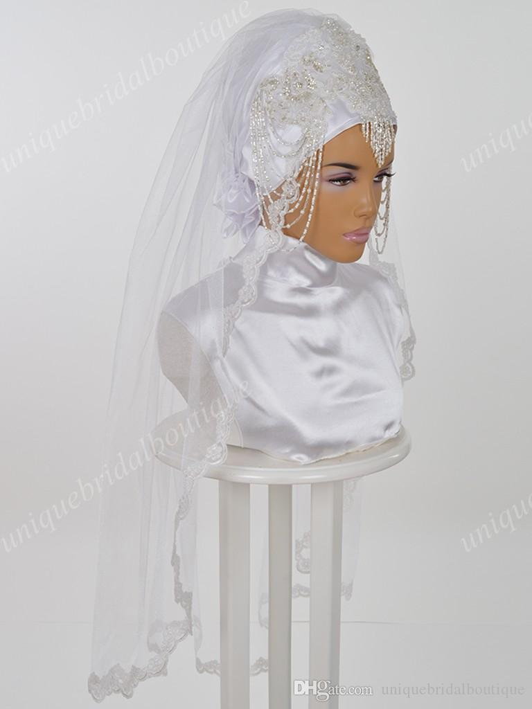 Muslim Wedding Veils with Beading and Lace Appliques Real Model Pictures Ready to Wear Bridal Hijab Elbow Length Hazir Gelin Turbanlari