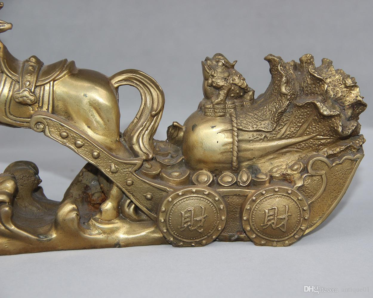 China Brass Horse Drawn Wealth Car Money Cabbage Golden Toad Spittor Cart Statue home decoration