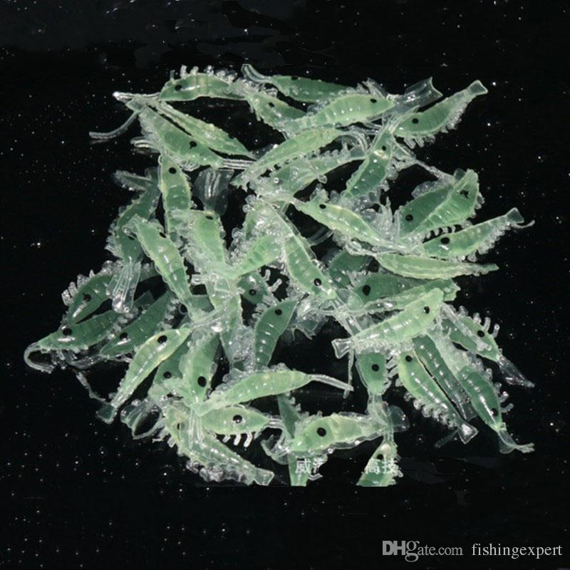 Fish Smell Small Shrimp Fishing Lure 3cm Luminous Soft Plastic Bait or Artificial Lifelike Prawn Lure of Fishing Tackle