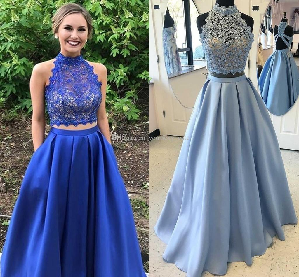 bababcf16e2 Royal Blue Two Piece Prom Dresses High Neck Sleeveless Lace Satin Light Sky  Blue Homecoming Dresses Backless Red Graduation Party Dresses Design A Prom  ...