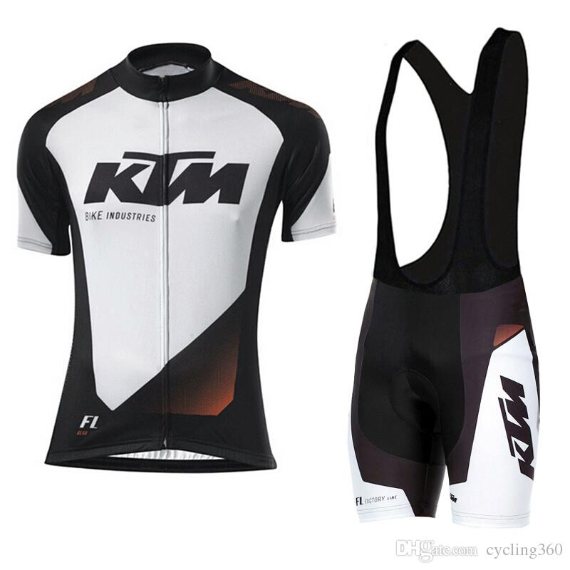 100% polyester quick dry team pro cycling wear 2019 KTM cycling team jersey gel bike shorts set mens ummer cycling clothing