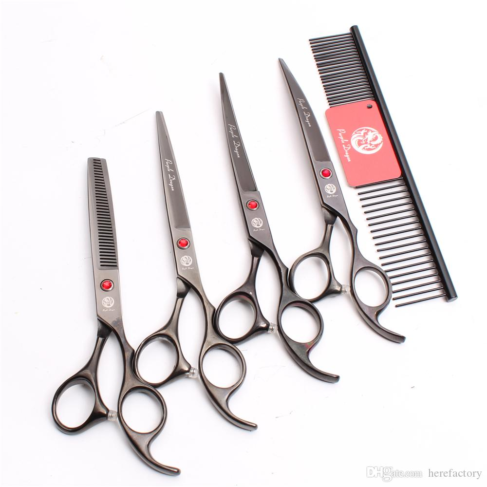 """Suit 7"""" 440C Purple Dragon Professional Pets Dogs Cat Hair Scissors Comb +Cutting Shears +Thinning Scissor +UP&Down Curved Shears Z3003"""