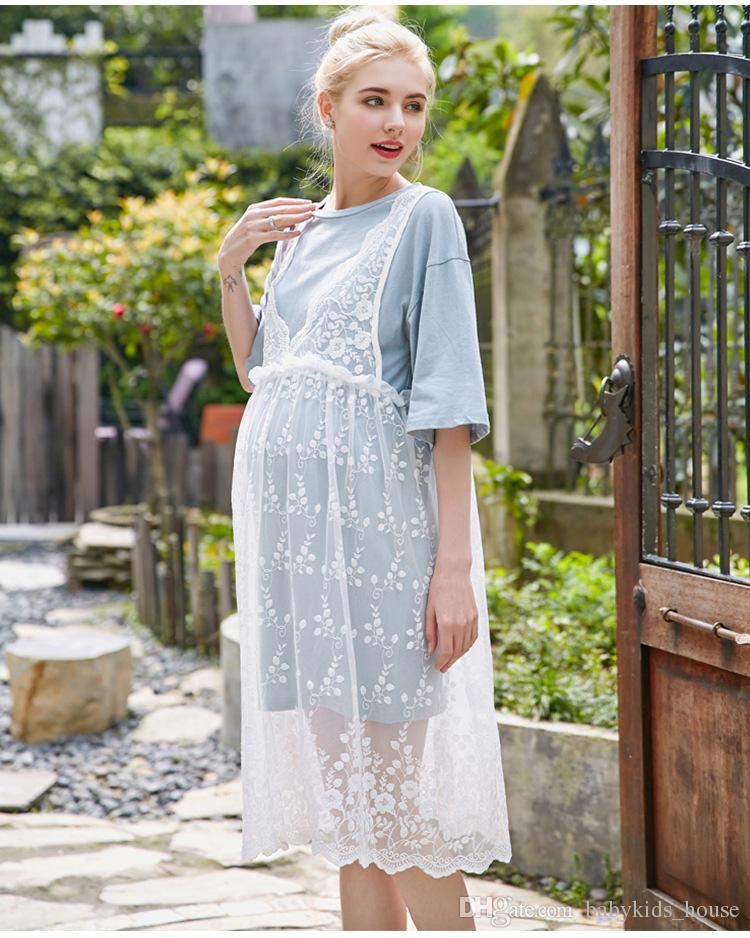 2017 Summer Dress for pregnant women Casual Two Piece Lace Basic Shirt Twinset Clothes Maternity Dress