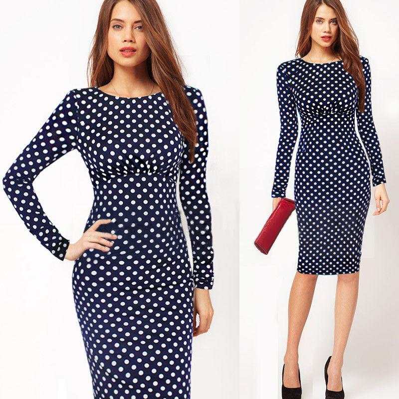 0e3ff81abcf4 2019 Women Pencil Dresses Retro Elegant Long Sleeve Wave Print Work Office  Wear Woman Bodycon Midi Dress Female Vestidos From Queenweddingdressing