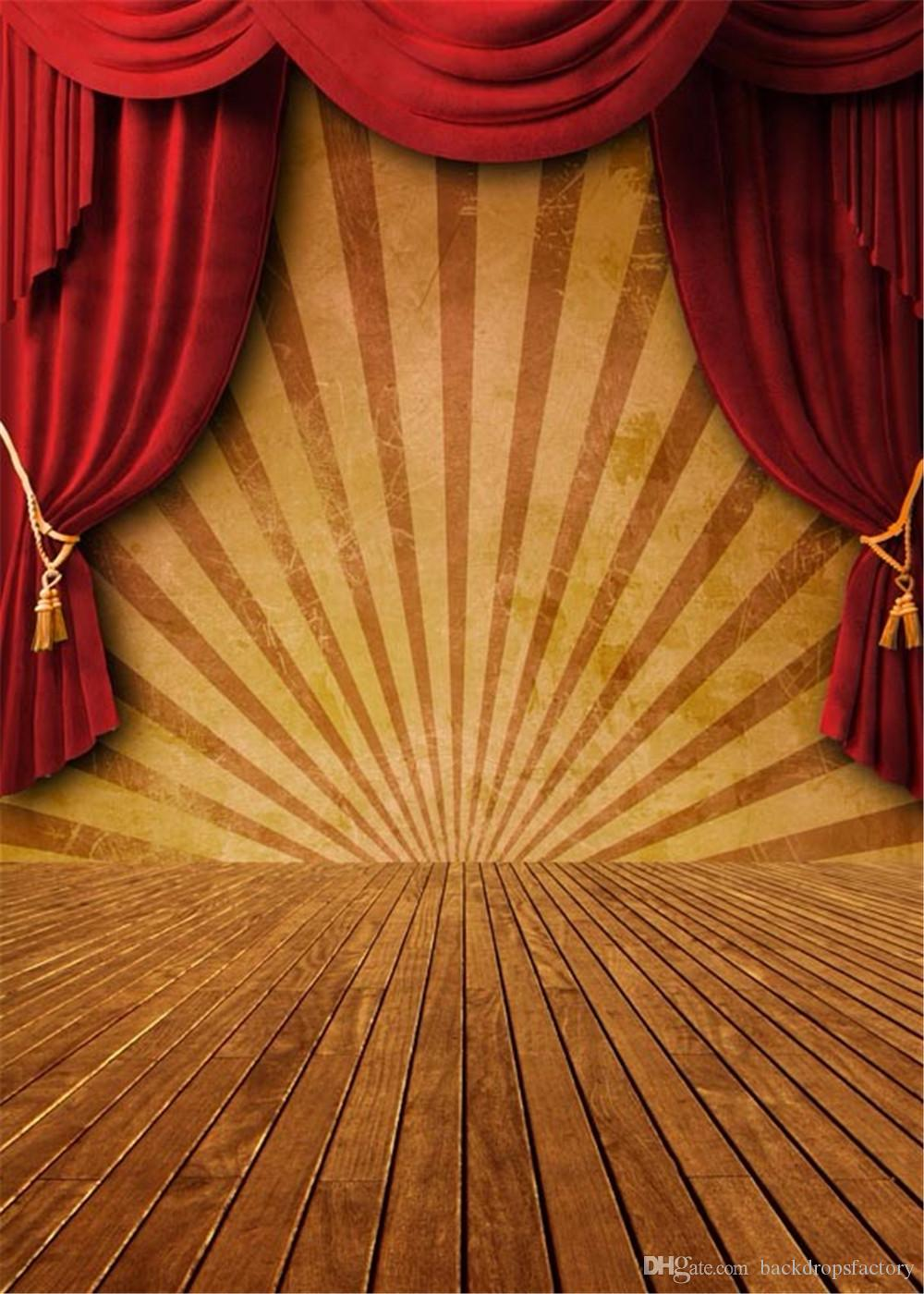 2019 Red Curtain Stage Backdrops Vintage Brown Wood Panel