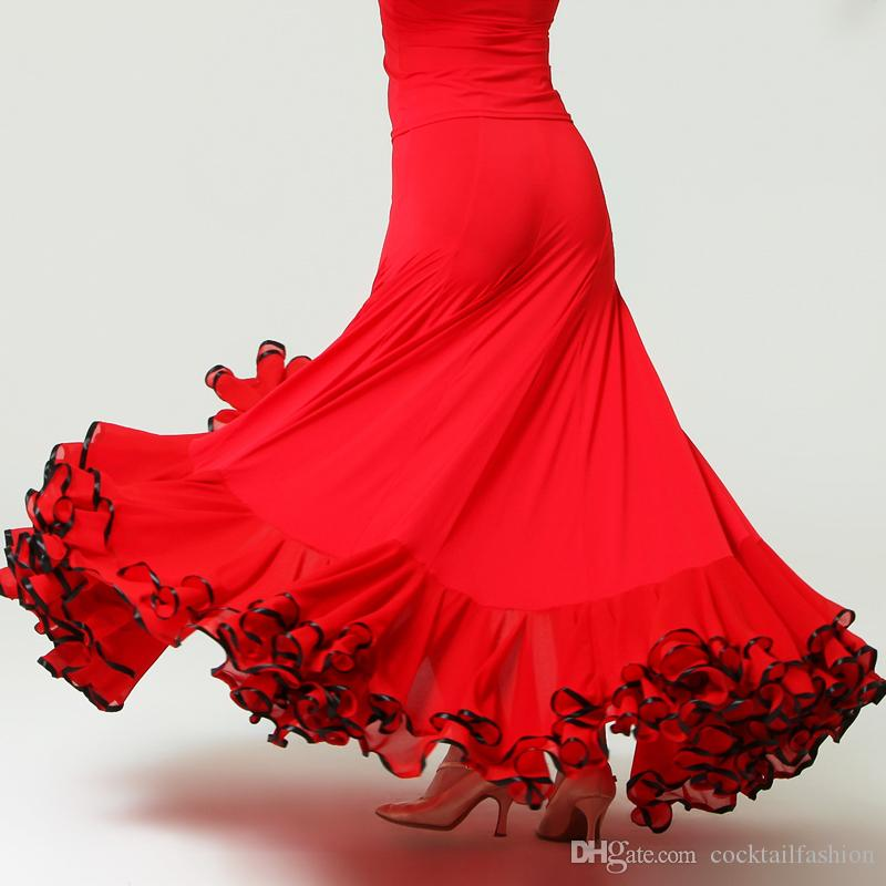 fd125a16a Falda de baile de salón Rojo Negro Mujeres Waltz Tango Vestido de baile  flamenco Vestidos de salón de baile baratos de Lady