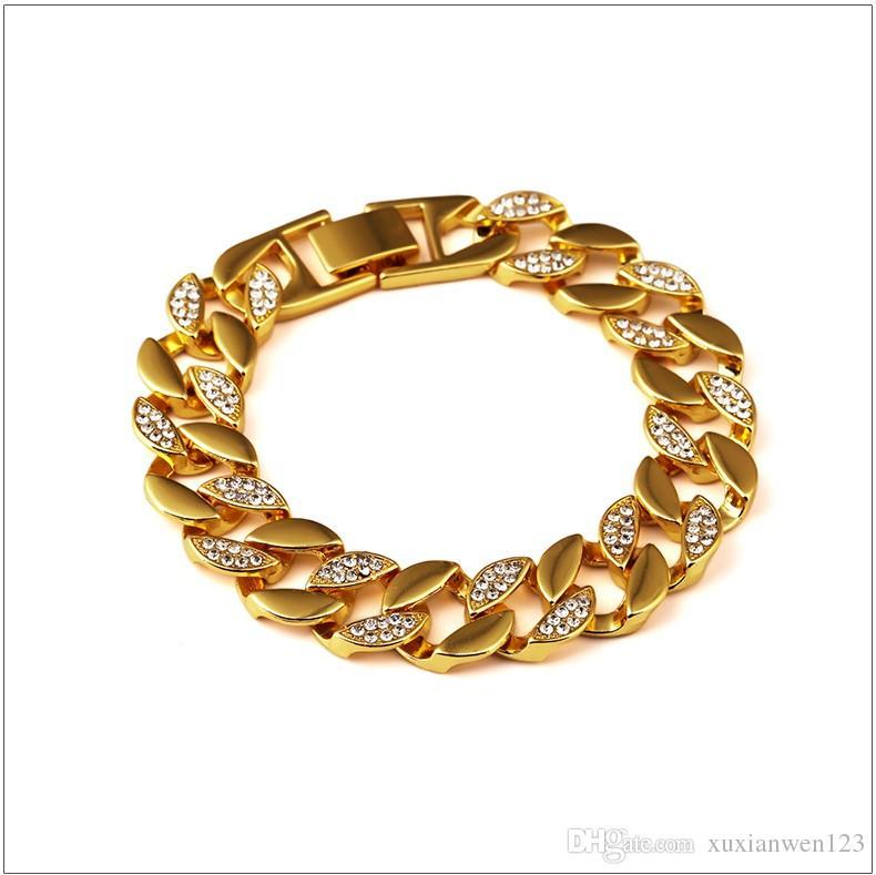 2017 neue Mens-Armbänder mit Bling Rhinestone-Gold überzogenen Armband Hip Hop Schmuck