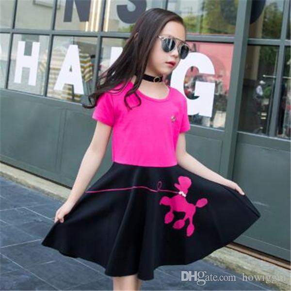 dd9abedecc62 2018 The New Girl Dress Summer Short Sleeves Princess Dress Girl Skirt  Children Clothing T Shirt + Skirt Clothing Sets From Howiggin