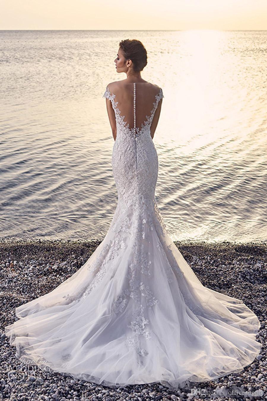 Berta Sexy Luxury Illusion Lace Applique Mermaid Wedding Dresses 2017 Vintage Sheer Cap Sleeves Covered Button Floor Length Bridal Gowns