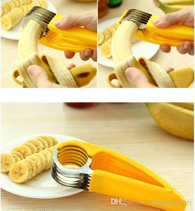 new Yellow Banana Slicer shredders kitchen Tool Fruit Vegetable chopper cutter Tools for fruit salads stainlesssteelwith color box h113