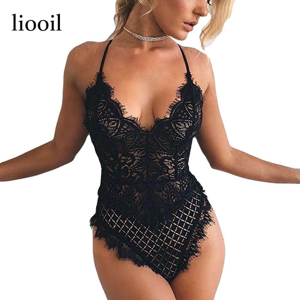 2019 Sexy Lace Bodysuit Women 2017 Summer Deep V Neck Spaghetti Strap See  Through White Black Bodycon Sheer Womens Bodysuits 17411 From Zhengrui06 8d7e47f42