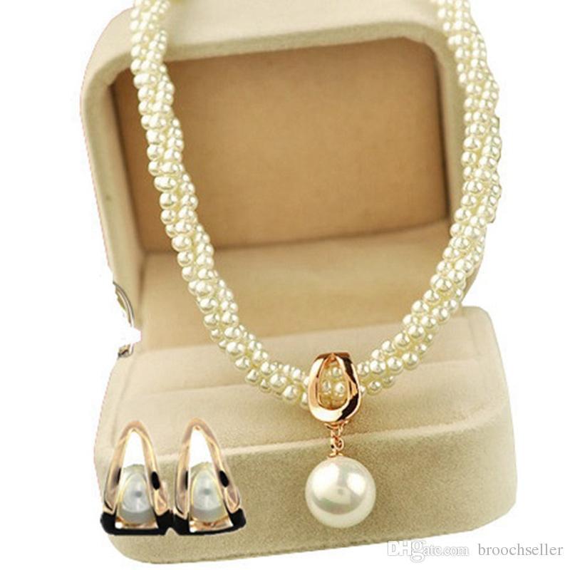 Hermoso oro chapado hecho a mano crema torcida collar de perlas de la joyería de las mujeres conjuntos de joyería y pendientes nupciales