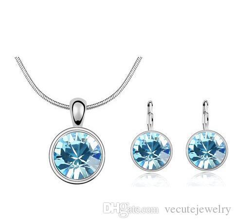 18K White Gold Plated Round Swarovski Crystal Necklace Earrings Jewelry Sets for Women Swarovski Crystal Jewelry Sets Wholesale Price