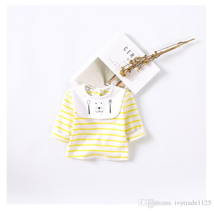 2017 INS NOUVEAU ARRIVÉE Filles garçon enfants t-shirt à manches longues à rayures t-shirt o-cou impression t-shirt avec bavoir chat enfants causal 100% coton bébé enfants t-shirt