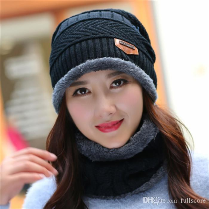 bb0a776926babe 2017 New Knitted Winter Hat Scarf Beanies Knit Men's Winter Hats Caps  Skullies Bonnet For Men Women Beanie Casual Neck Warmer