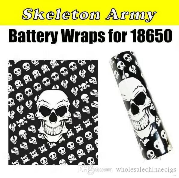 18650 batería papel de envoltura de la bandera del estilo del cráneo baterías recargables retráctil envoltorio de la etiqueta engomada para LG HG2 Samsung 25R 30Q Sony VTC6 VTC5