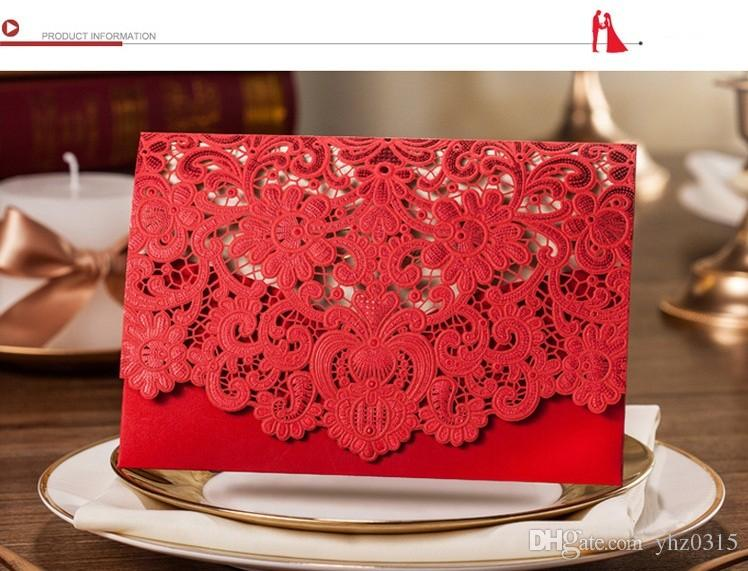 Fontes do casamento Vermelho Branco Vintage Luxuoso Elegante Dourado Laser Cut Wedding Card Convite 3 cores