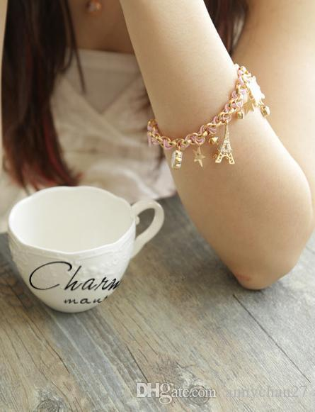 Bracelet Cheville Double usage Tour Eiffel Star Fleur Poker Carte Amour Coréen Accessoires de mode Discount Chine Bijoux Noir Rose Blanc PU