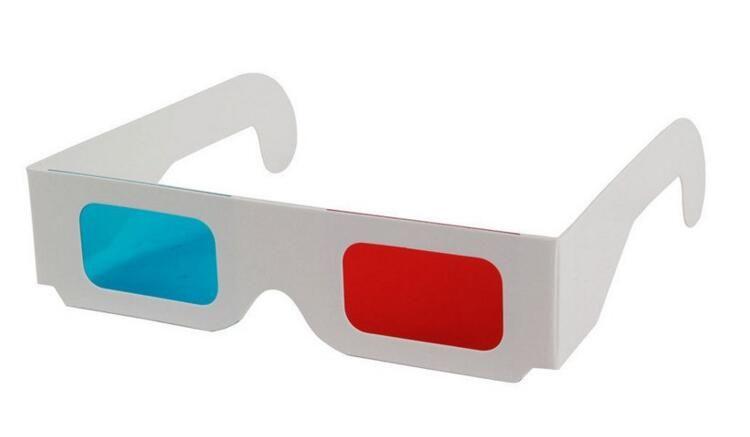 Gafas de papel 3D Red Blue Cyan Paper Card gafas de anáglifo 3D ofrece un sentido de la realidad Movie DVD para mujeres hombres DHL