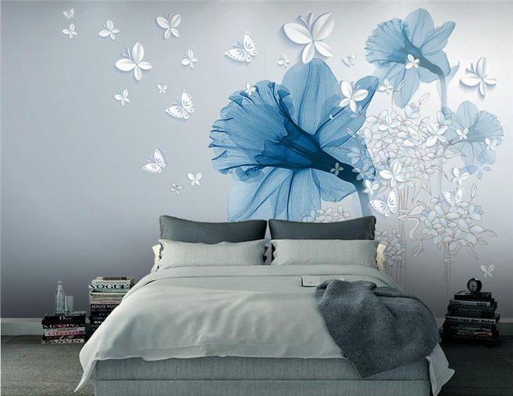 benutzerdefinierte 3d stereoskopische Tapeten Blumen Hintergrund einfache europäische Stil papel de parede tun Desktop-Tapeten Luxus
